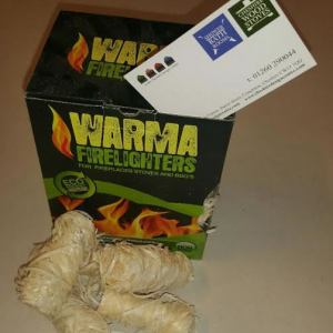 Natural wood wool firelighters with wax binder